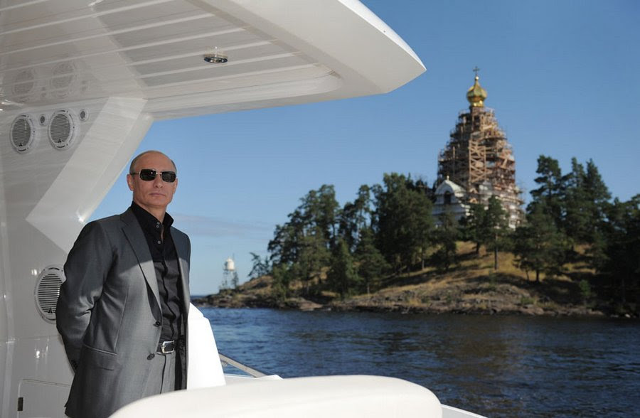 VV  Putin on Lake Ladoga during a visit to the Monastery of the Transfiguration on the island of Valaam, Russia on August 14, 2011 President took part in the Sunday service.
