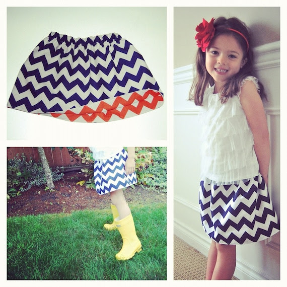Toddler Girl's Reversible Navy and Orange Chevron Skirt... TWO skirts in one