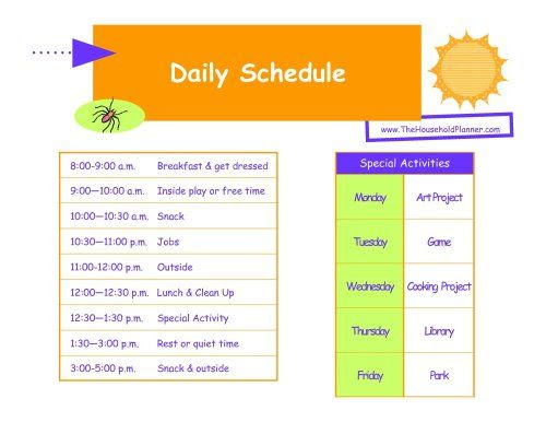 Blank Daily Schedule For Kids | Daily Planner