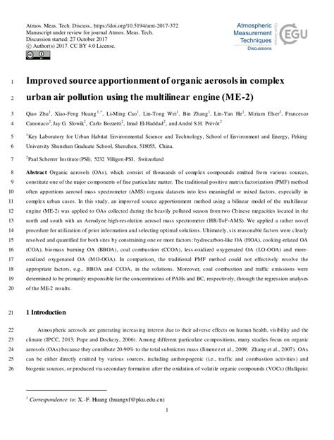 (PDF) Improved source apportionment of organic aerosols in