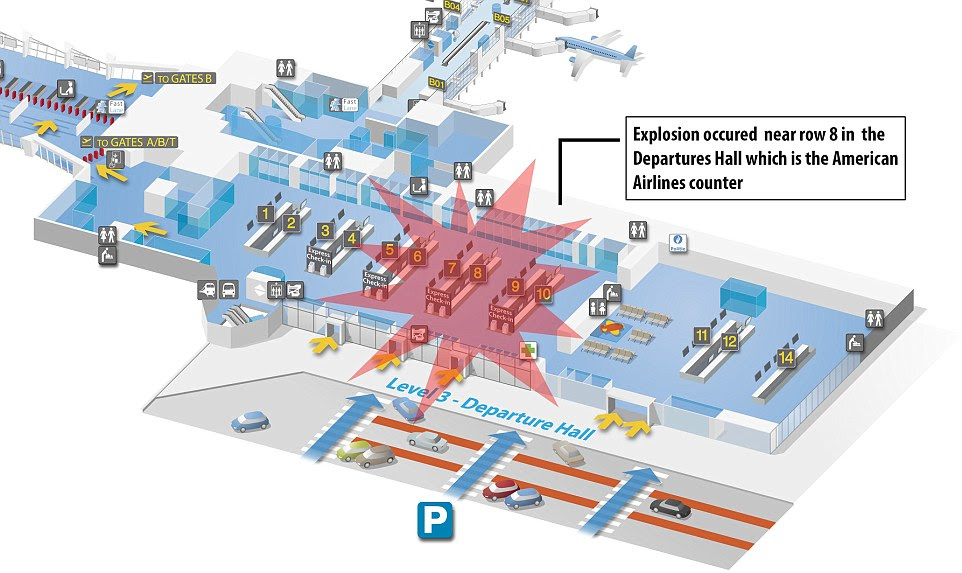 Two blasts rocked the American Airlines check-in desk (above) at Brussels Airport at 8am (7am GMT) in a suspected suicide bombing