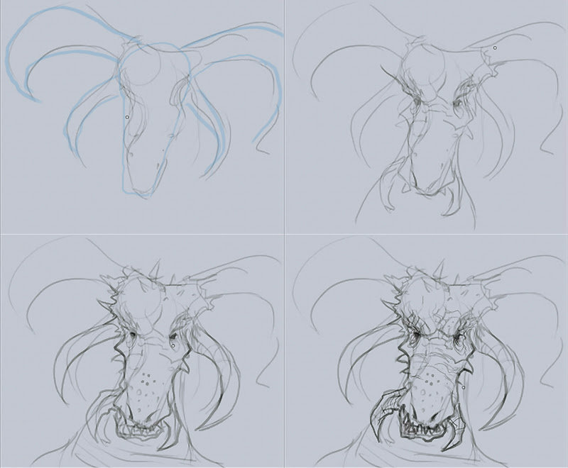 how to draw dragon head