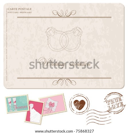 stock vector Retro Wedding Invitation postcard with stamps for design