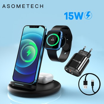 15W Qi Fast Wireless Charger Stand For iPhone 12 Pro 11 XR X 8 Samsung 3 in 1 Charging Dock Station For Airpods Pro Apple Watch