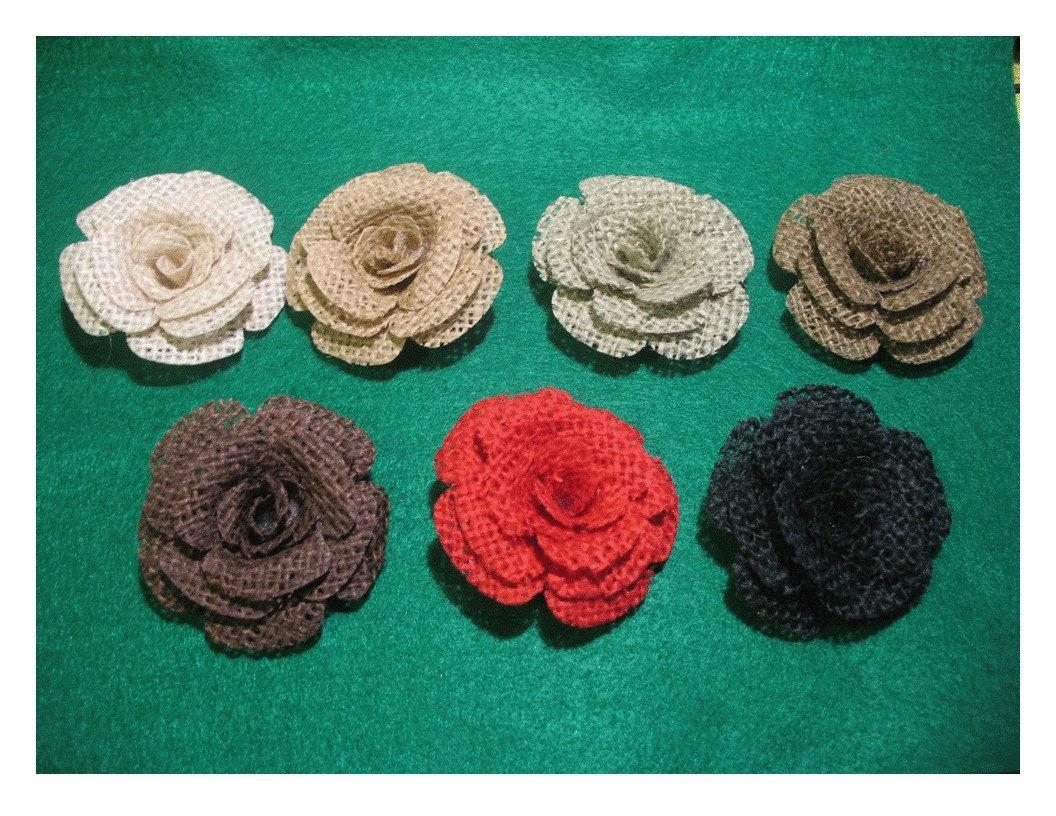 6 Burlap Roses - choice of colors