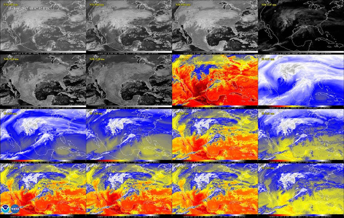 The raw image data from GOES-16 looks something like this.