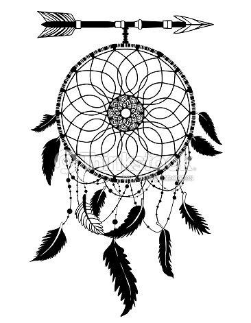 Atrapasueños Con Plumas Y Flechas Dibujados Estilo Vector Cartel
