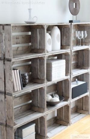 DIY rustic shelves from wooden crates