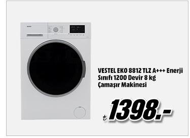 VESTEL EKO 8812 TLZ A+++ Enerji Sınıfı 1200 Devir 8 kg Çamaşır Makinesi 1398TL