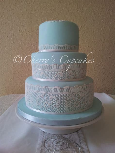 Duck Egg Blue & Lace wedding cake   Cakes   Wedding cakes