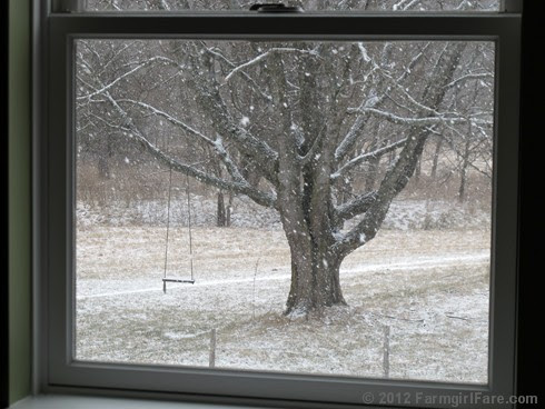 Snowfall through the upstairs windows 3 - FarmgirlFare.com