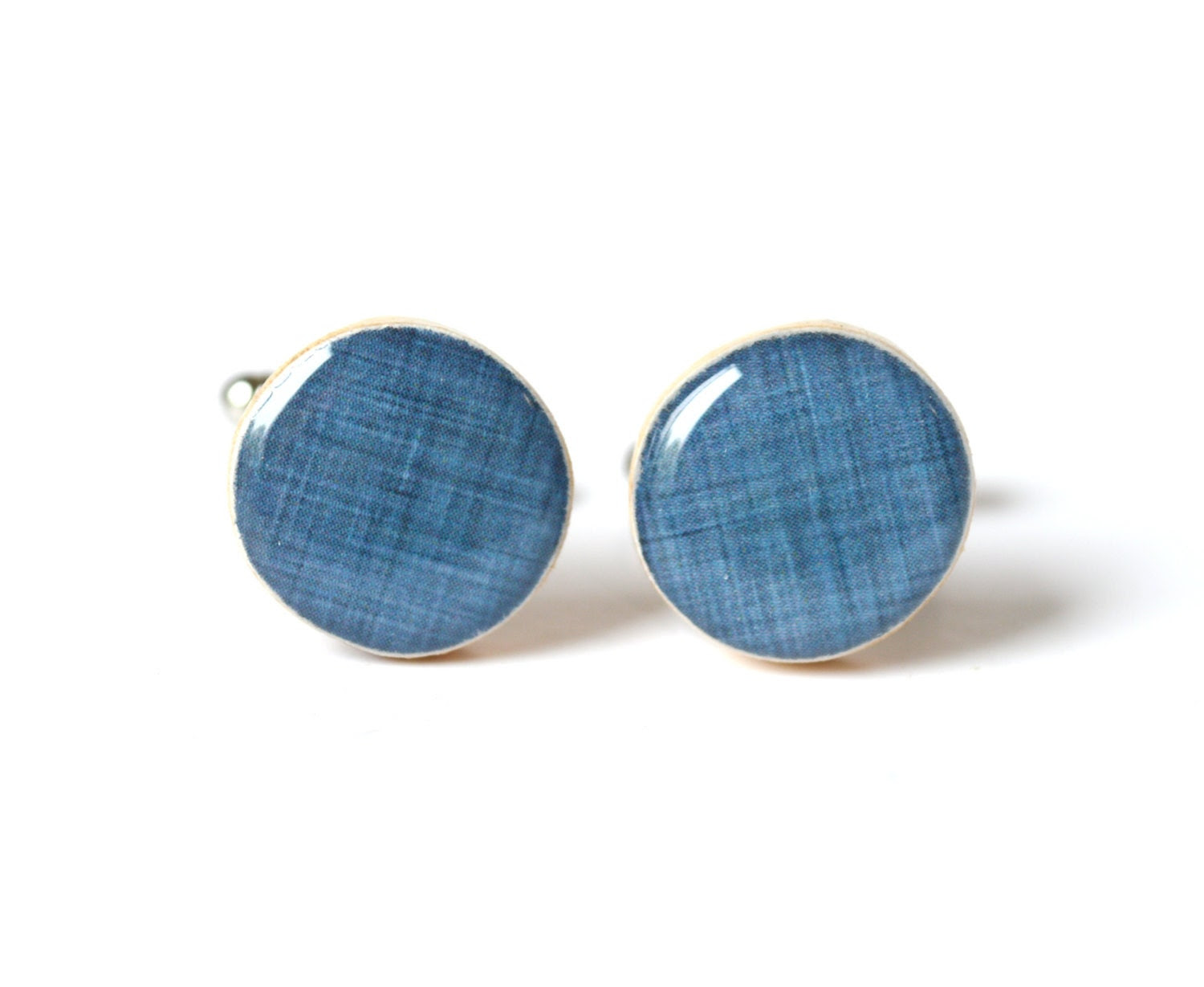 Denim blue cufflinks wood cuff links fathers day gift for dad wedding eco friendly mens accessory gift for men - starlightwoods
