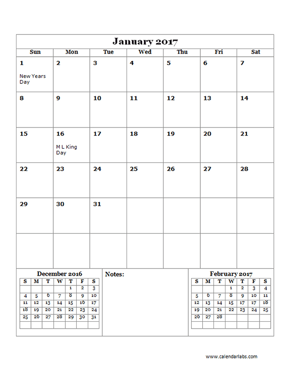 2017 Monthly Calendar Template 14 - Free Printable Templates