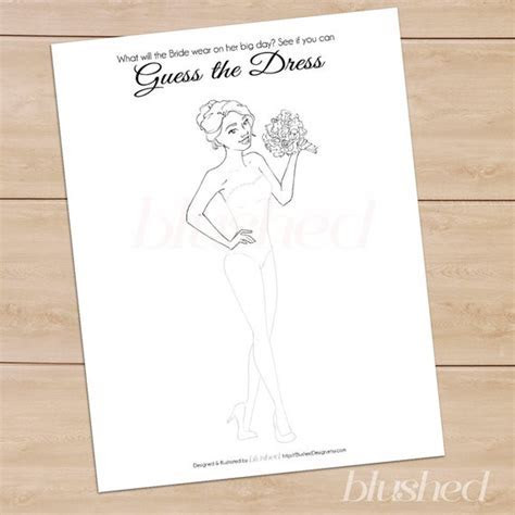 Unique Bridal Shower Game: Guess The Dress Printable