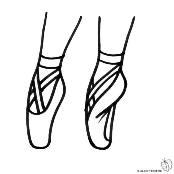 Disegno Di Scarpe Ballerina Da Colorare Per Bambini