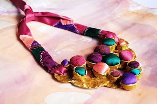bohemian sin: Ready to become grape juice - statement fabric necklace