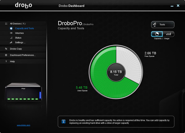Drobo Dashboard - Capacity and Tools