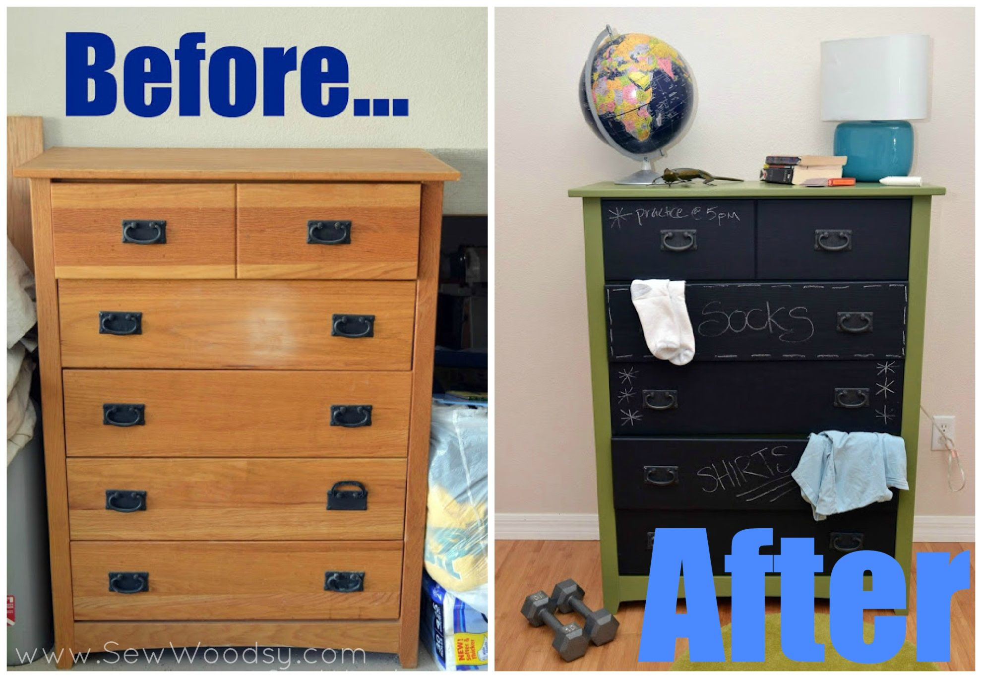 DIY Chalkboard Painted Dresser | Sew Woodsy