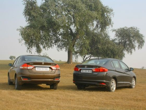 Maruti Ciaz vs Honda City diesel comparison rear static