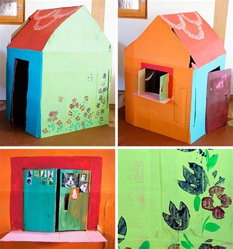 kinderhaus aus pappe bastelideen spielhaeuschen aus