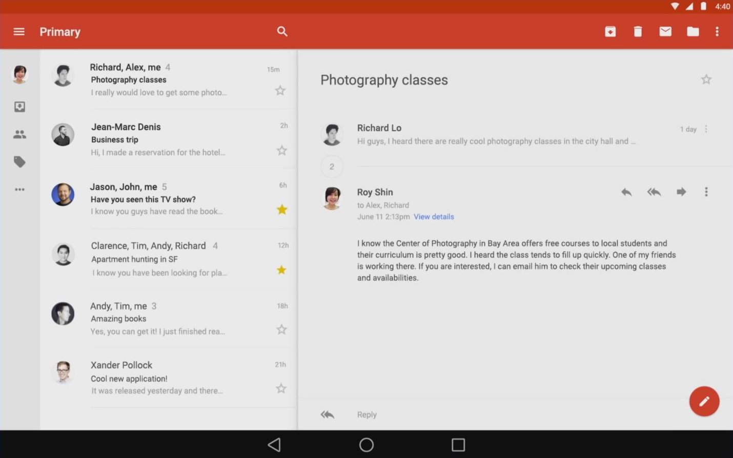 Android Ls App Design Early Looks At Youtube Gmail Maps