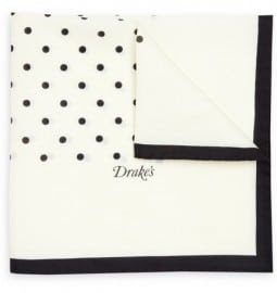 Drakes Spotted Cotton-blend Pocket Square
