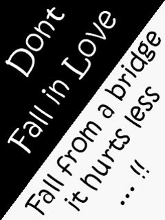 Dont Fall In Love Fall From A Bridge It Hurts Less