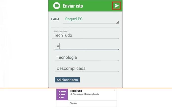 Na parte de cima, tela no app para Android que enviou mensagem. Abaixo, notificação push no desktop (Foto: Reprodução/Raquel Freire)