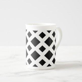 Black Diamonds on White Bone China Mug