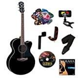 Yamaha CPX500II Black Acoustic Electric Guitar BUNDLE w/Legacy Acc Kit (Tuner, Picks, DVD and More)