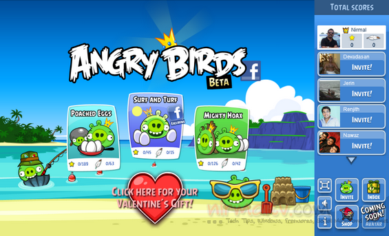 Angry birds for Facebook