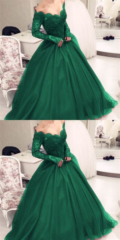 lace long sleeves emerald green prom dresses ball
