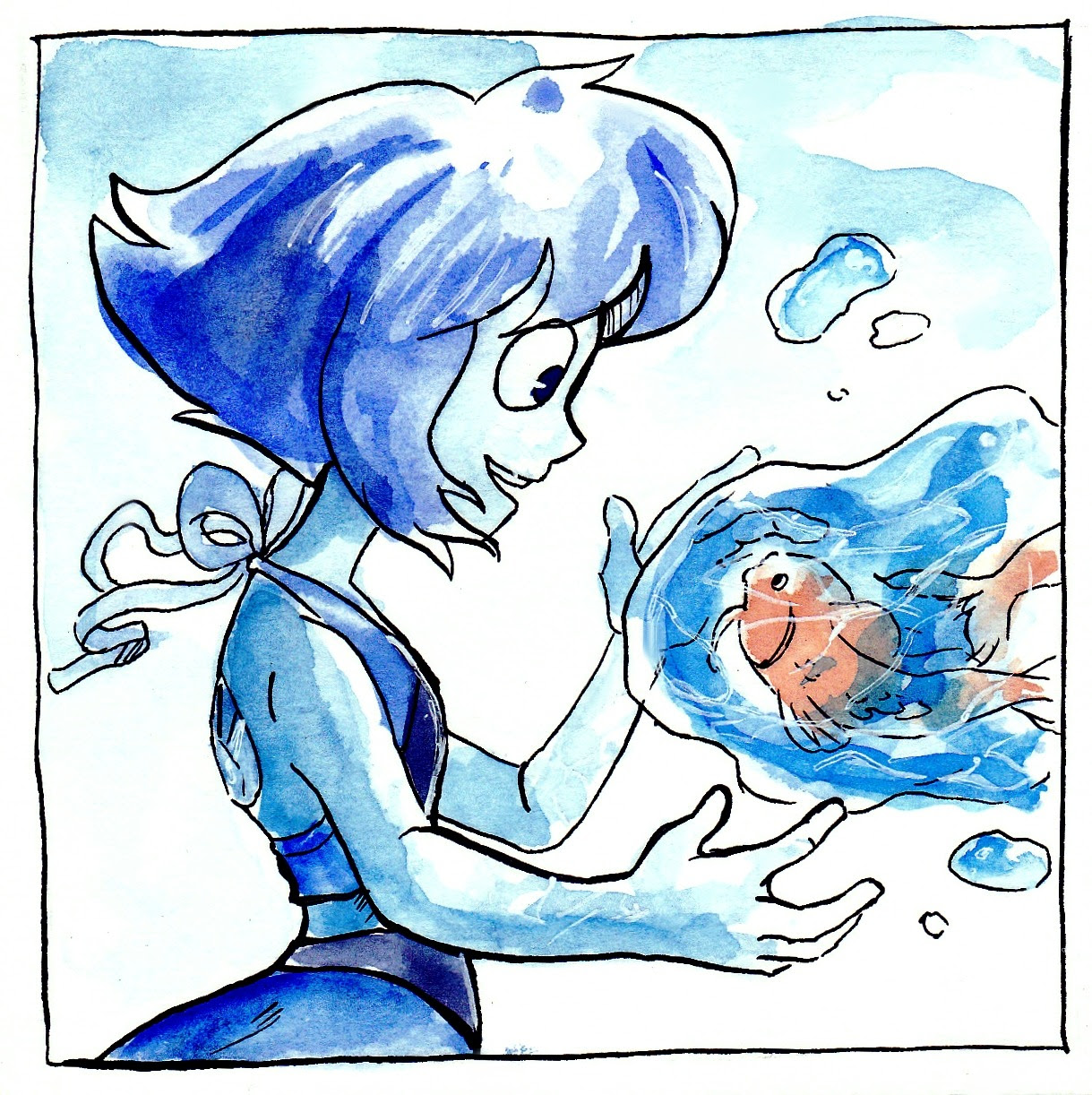 Inktober Day 6 It's time for Lapis! Tomorrow I'm planning to draw another SU character, guess who C: