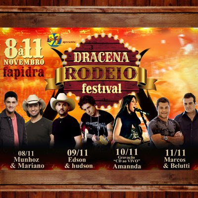 Dracena Rodeio Festival - 08 a 11/11 - Dracena - SP  - TK INGRESSOS