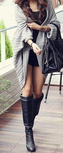 Oversized Cardigan , Cool Leather Booties Just Love it!!