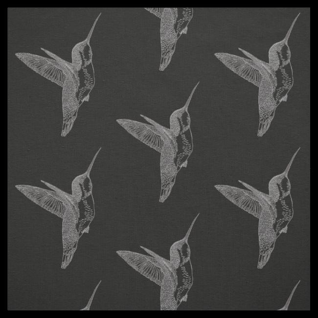 Hovering Hummingbirds Black Print Fabric