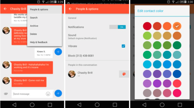 Google Messenger now allows you to choose contact colors