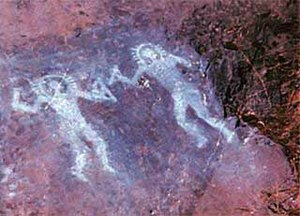 Ancient paintings from Val Camonica, Italy are believed to depict forgotten deities; ancient astronaut proponents claim these pictures resemble modern day astronauts despite being painted ca. 10,000 BC.