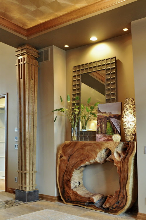 Contemporary Rustic Entrance with Natural Wood Console Table