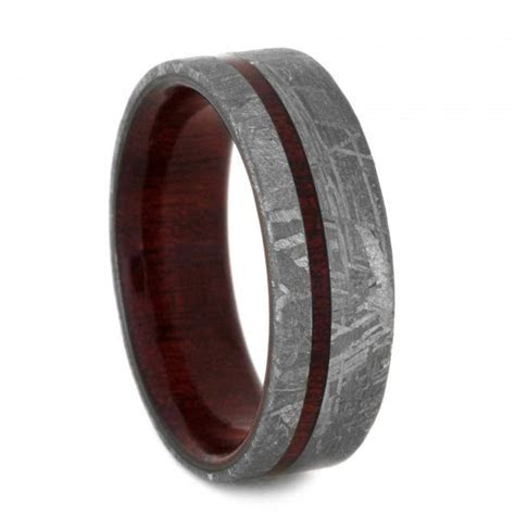 Meteorite Wedding Band, Custom Ring With Bloodwood Sleeve