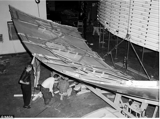 The lunar surface for the simulator is laid out to be attached to the high rise board at the Langley Research Center in Hampton, Virginia