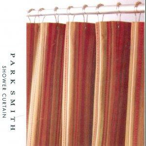 Kohl's NEWPORT STRIPE Rust Brown Gold Fabric Shower Curtain
