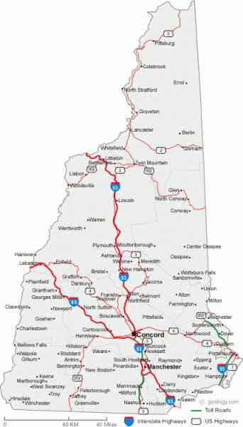 Map Of Towns In New Hampshire Holidaymapq Com