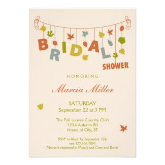 Fall Hanging Leaves Bridal Shower Invitation