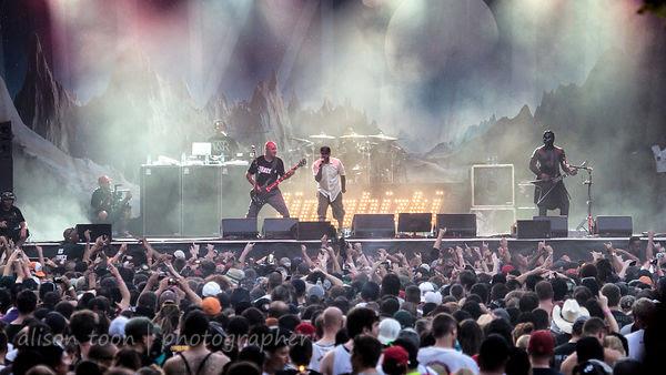 Limp Bizkit on stage at Aftershock 2014