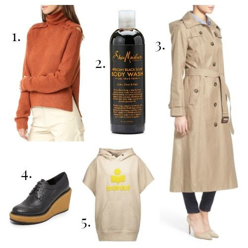 Tibi Sweater - Shea Moisture Body Wash - London Fog Trench - Paloma Barcelo Shoes - Etoile Isabel Marant Sweatshirt