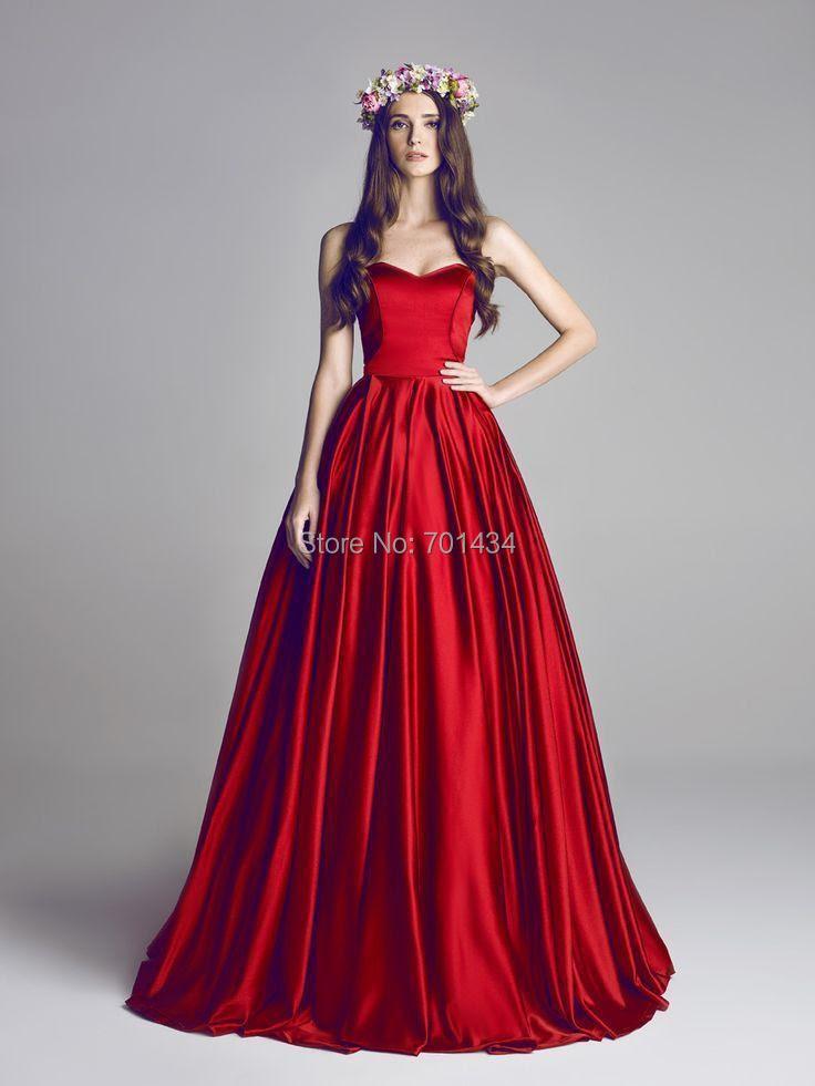 Long red evening dress
