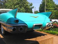 Blue Cadillac rear, Elvis Presley Auto Museum