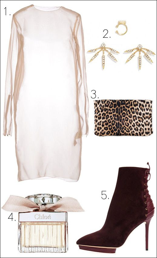 Le Fashion Blog -- Holiday Party Look Collage -- Acne Nude Sheer Dress Bauble Bar Ear Cuff Emika Paris Leopard Clutch Chloe Perfume Charlotte Olympia Burgundy Deborah Boots -- photo Le-Fashion-Blog-Collage-Holiday-Party-Look-Acne-Nude-Sheer-Dress-Ear-Cuff-Leopard-Clutch-Chloe-Perfume-Charlotte-Olympia-Burgundy-Boots.jpg