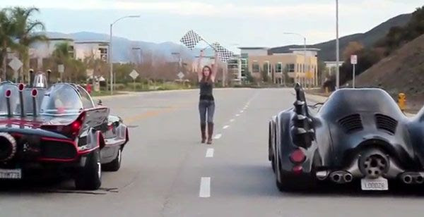 SUPER POWER BEAT DOWN host Marisha Ray is ready to begin the race of the Batmobiles.
